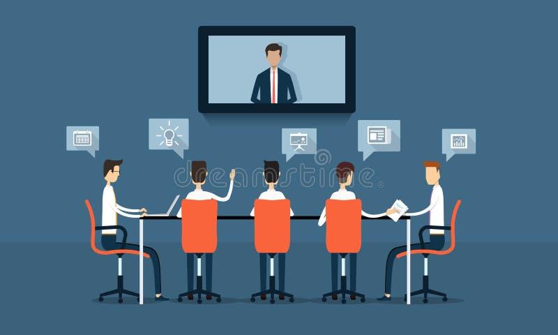 Conferência do negócio do vetor e clique em linha da reunião ilustração do vetor