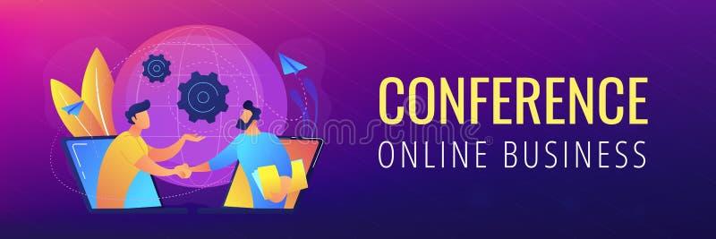 Conferência em linha e de encabeçamento ou de pé de página do negócio bandeira ilustração stock