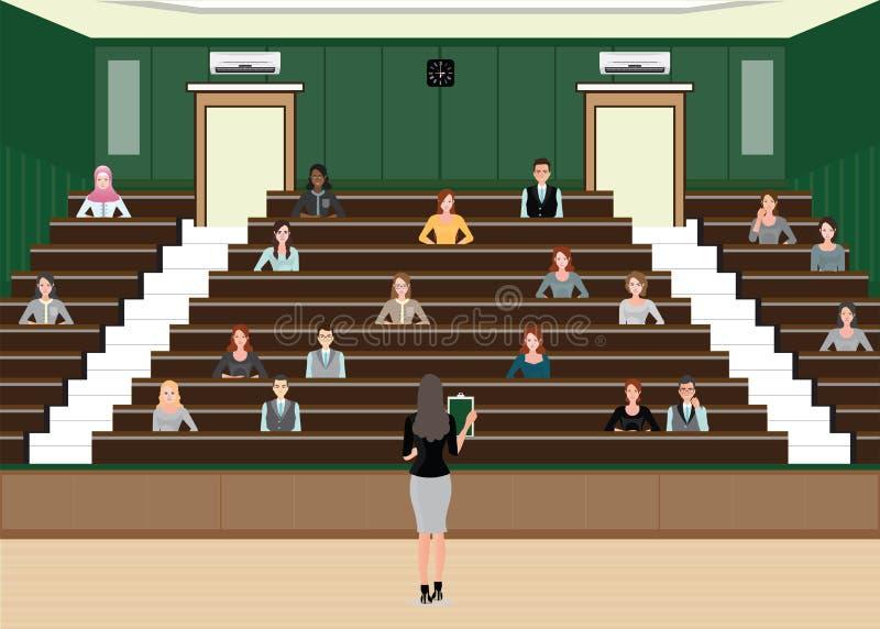 Conferência ou apresentação da mulher de negócio na conferência da audiência ilustração do vetor
