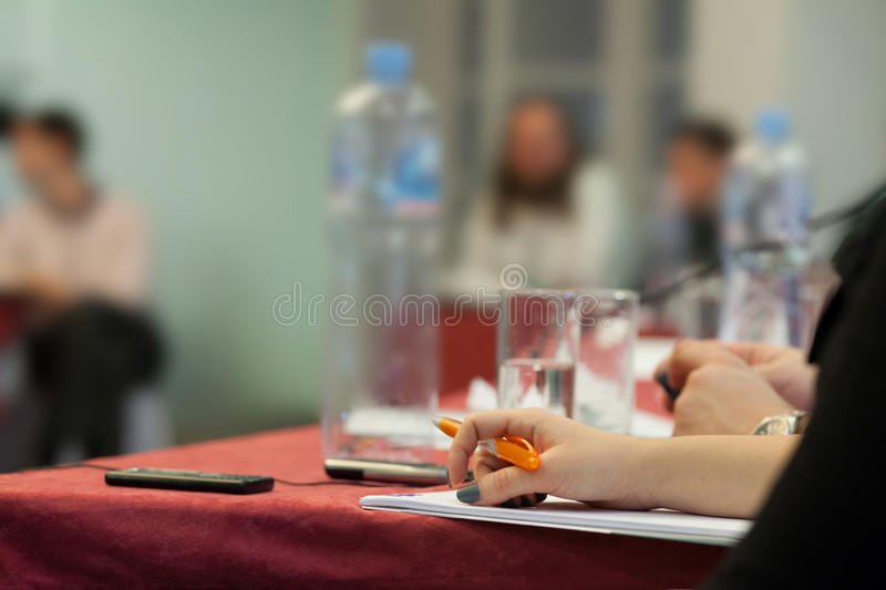 At the conference stock photos
