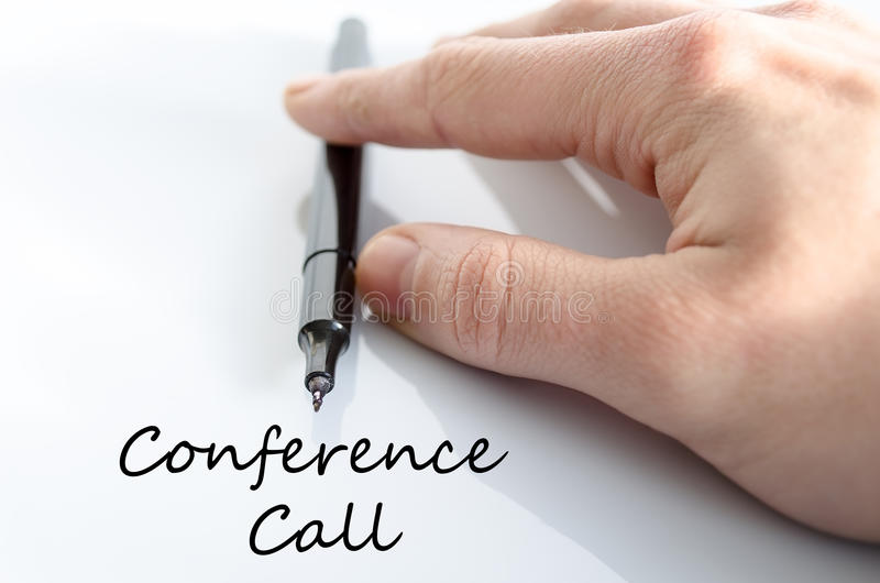Conference call text concept. Isolated over white background royalty free stock images