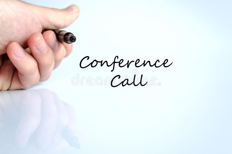 Conference call text concept. Isolated over white background royalty free stock photos