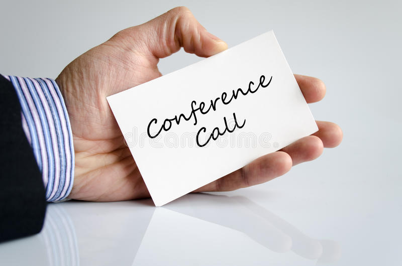 Conference call text concept. Over white background stock photos