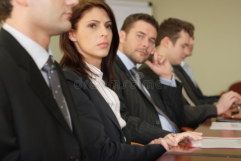 Conference five businesspeople royalty free stock photography