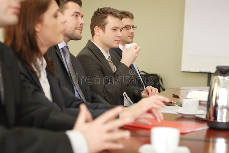 Conference, group of five business people royalty free stock images