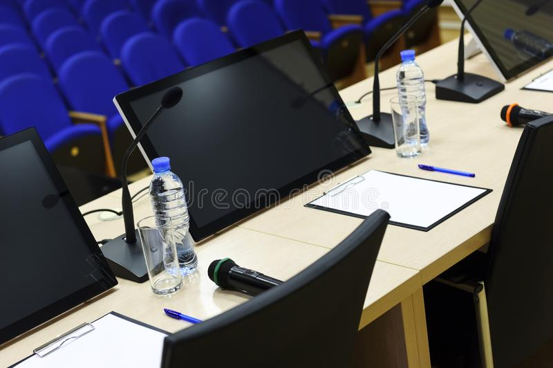 Download Conference hall detail stock image. Image of computer - 100877777