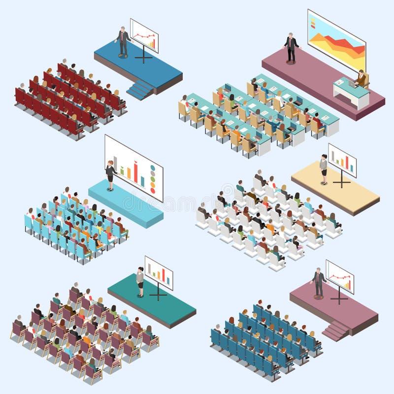 Conference Hall Isometric Set stock image
