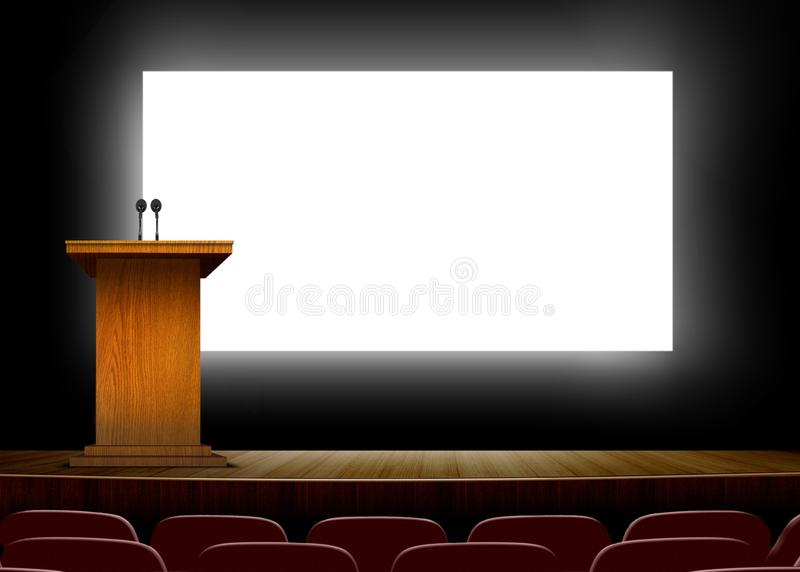 Conference hall with podium and presentation screens stock illustration