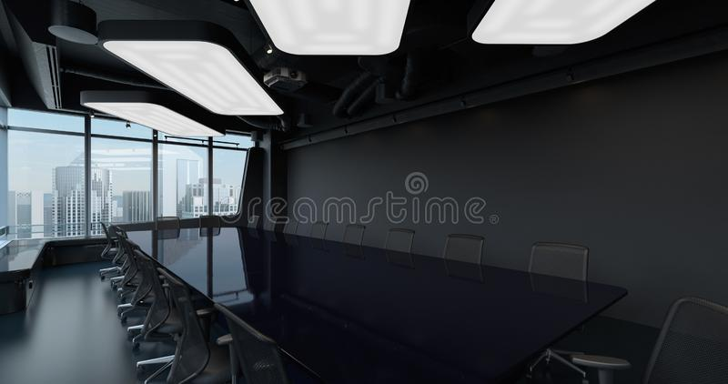 Conference Hall Room office interior with long meeting table and view of city with skyscrapers outside large big panoramic window royalty free stock photos