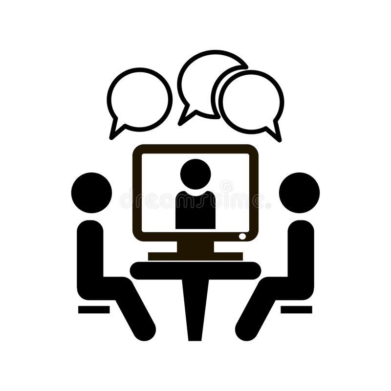 Free Conference Icon. People Sitting At The Table. Online Video Chat Vector Icon. Stock Image - 114619531
