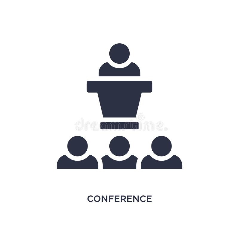 conference icon on white background. Simple element illustration from strategy concept vector illustration