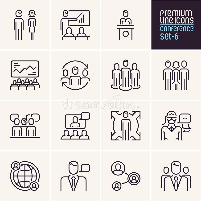 Conference icons, management and business people line icons set, human resources vector illustration