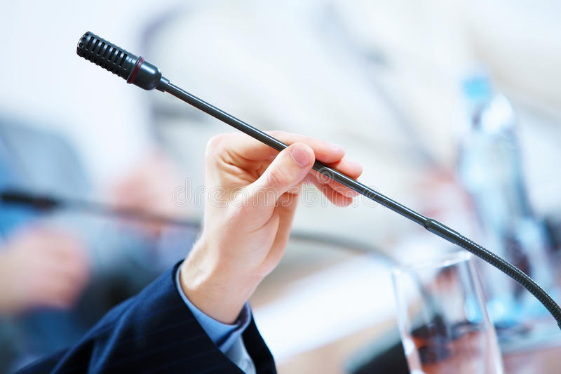 Conference hall with microphones royalty free stock photography