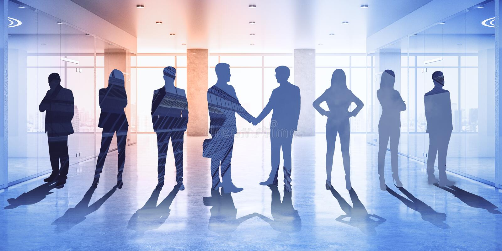 Conference and partnership concept. Businesspeople on abstract office hologram background. Conference and partnership concept. Multiexposure royalty free stock images