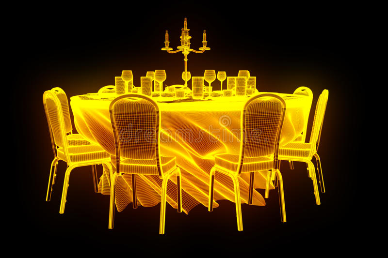 Conference Party Table with Chips in Hologram Wireframe Style. Nice 3D Rendering stock photo