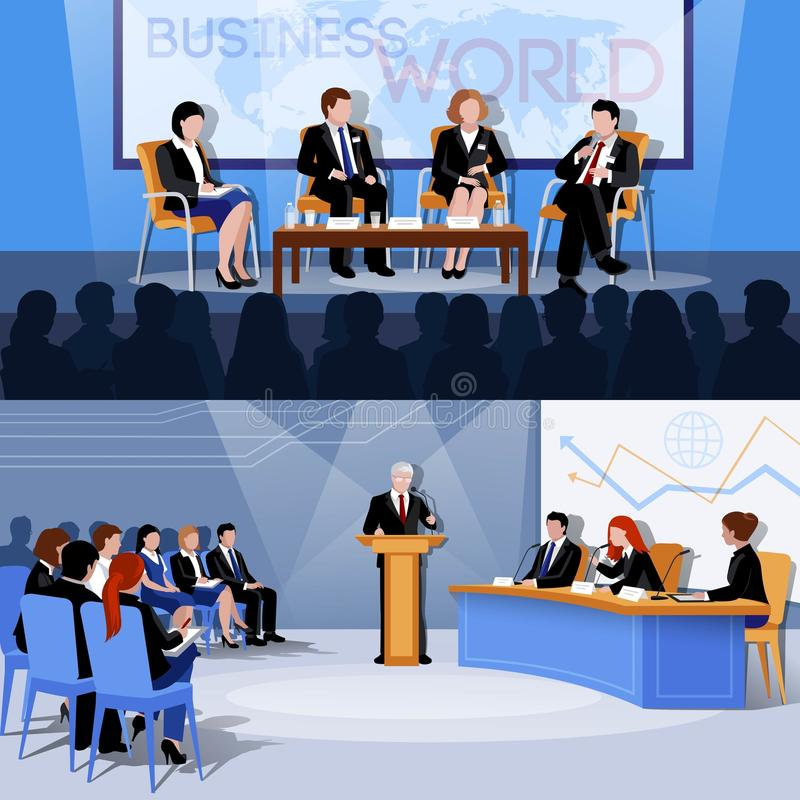Free Conference Public Speaking 2 Flat Banners Royalty Free Stock Image - 77265496
