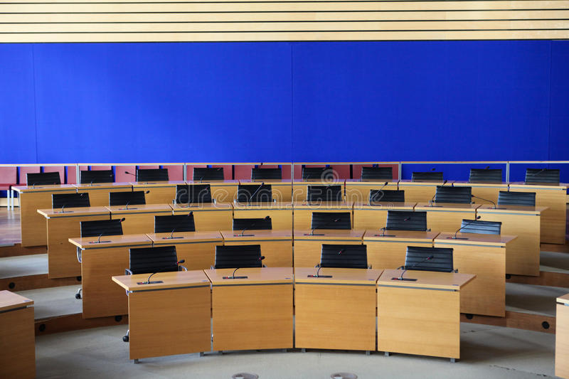 Conference Room. An empty conference room in semi-circles in a Belgian public building royalty free stock image