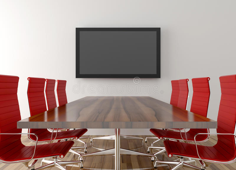 Conference room with blank LCD TV in background. 3D illustration stock illustration