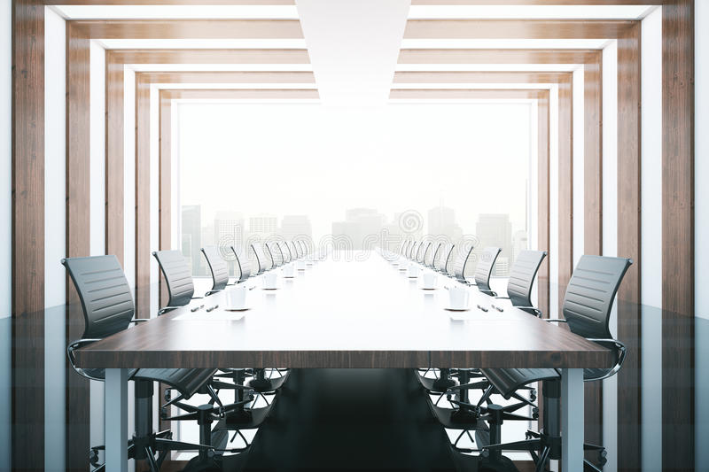 Conference room equipment. Side view of wooden table and chairs in modern conference room with city view. 3D Rendering royalty free illustration