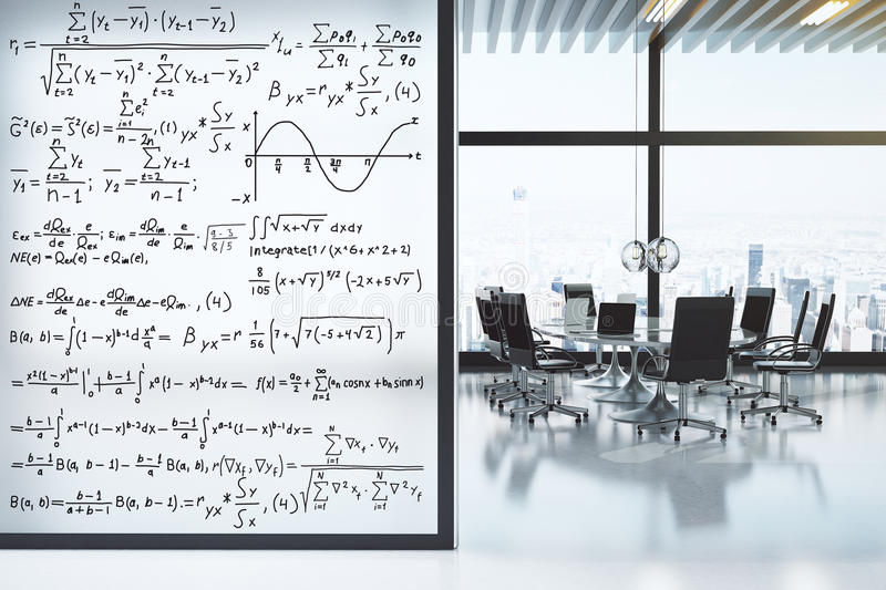 Conference room with furniture and equation wall concept. Close up royalty free stock photography
