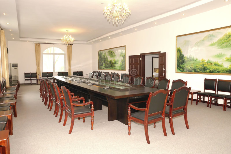 Conference room layout stock images