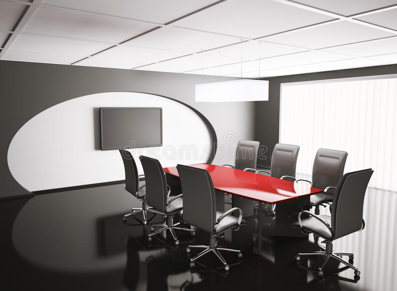 Conference room with lcd and red table 3d. Render