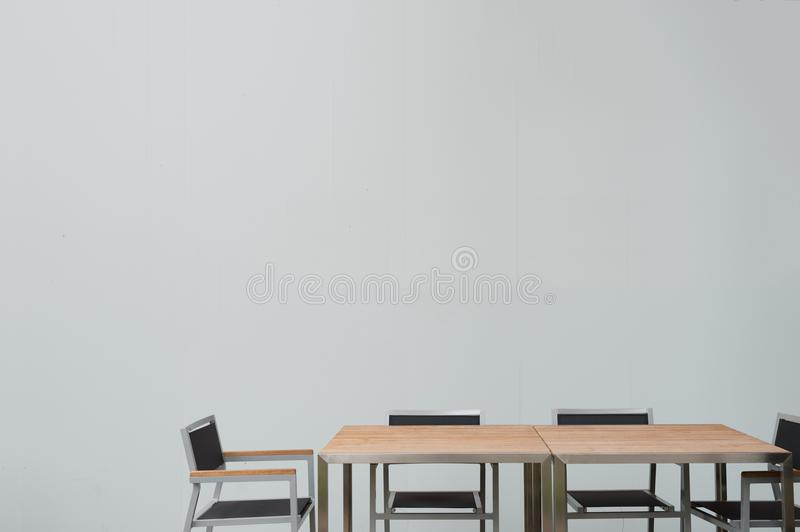 Conference room with place for drawing on wall. Closeup of modern office. White poster on wall stock photos