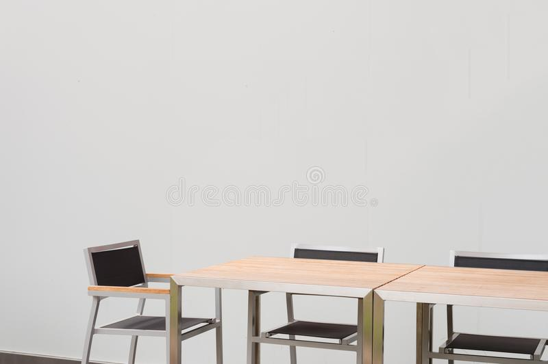 Conference room with place for drawing on wall. Closeup of modern office. White poster on wall stock photo