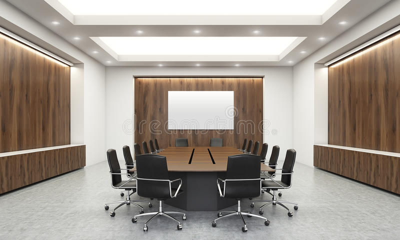 Concrete And Wooden Conference Room Interior With Blank Whiteboard, Table,  Chairs And Ceiling With Lamps. Mock Up, 3D Rendering