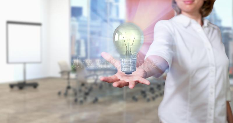 Conference Room Woman With Idea Bulb royalty free stock photo