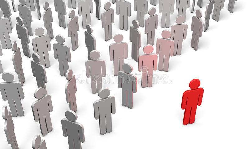 Conference (symbolic figures of people). Standing Out from the Crowd. Available in high-resolution and several sizes to fit the needs of your project royalty free illustration