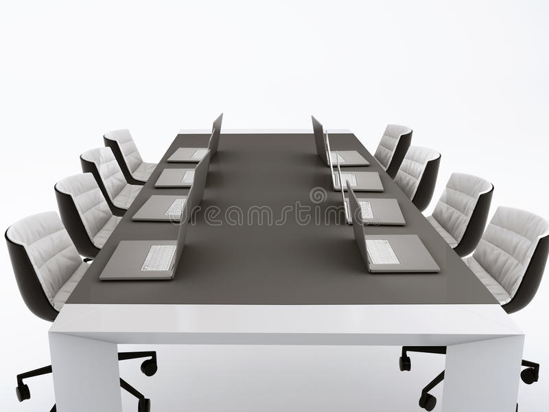 Conference table and meeting room.3d illustration. isolated whit royalty free illustration