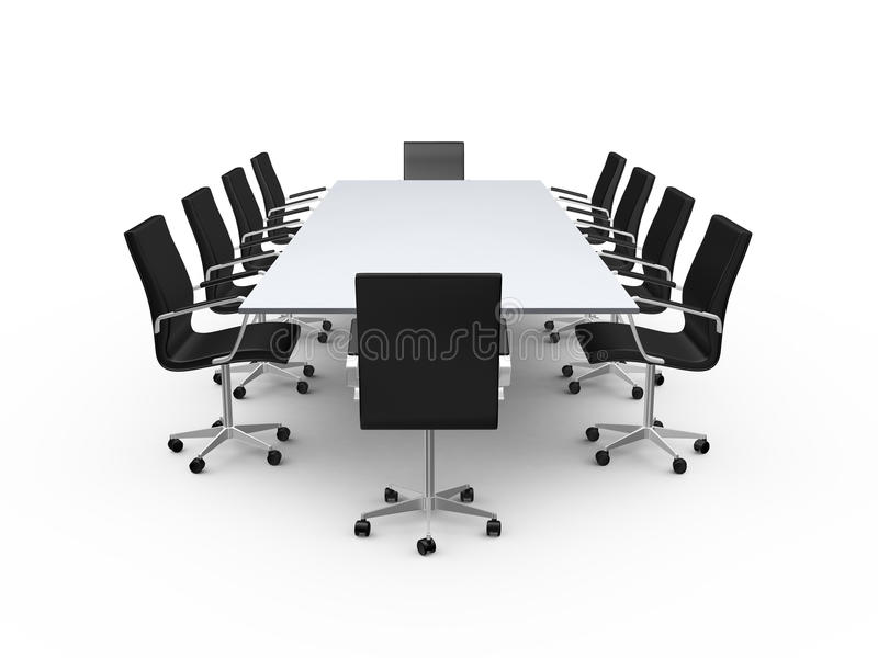 Conference Table and Office Chairs stock illustration