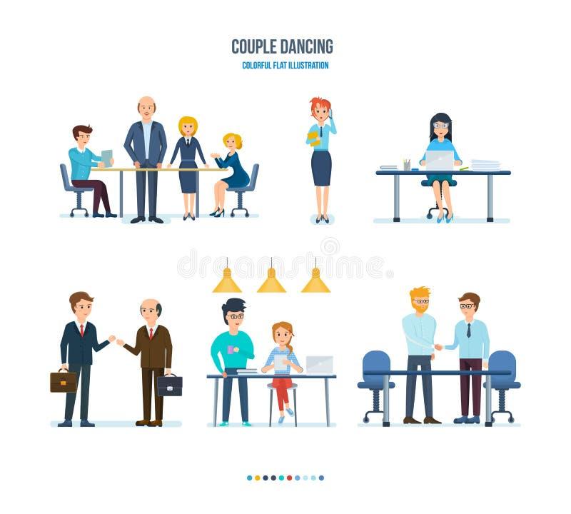 Conferencia de la compañía de los colegas, comunicación con los clientes, trabajo sobre el ordenador libre illustration