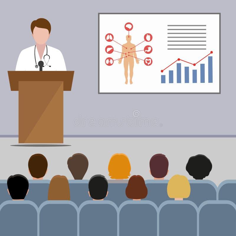 Conferencia m?dica el doctor hace una presentaci?n al p?blico en la audiencia ilustración del vector