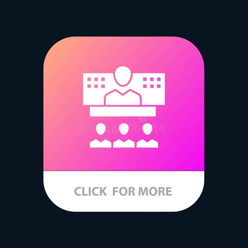Conferencia, negocio, llamada, conexión, Internet, botón móvil en línea del App Android y versión del Glyph del IOS ilustración del vector