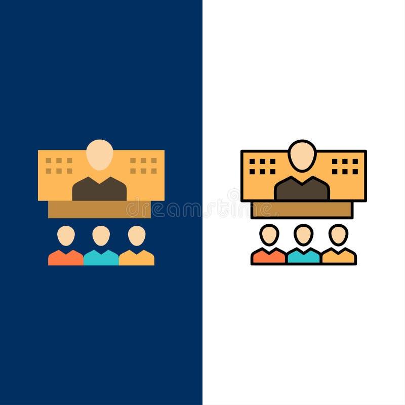 Conferencia, negocio, llamada, conexión, Internet, iconos en línea El plano y la línea icono llenado fijaron el fondo azul del ve libre illustration