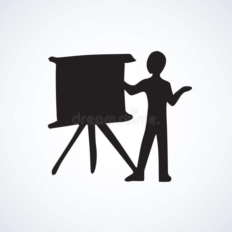 Conferenciante en la pizarra Símbolo del vector stock de ilustración