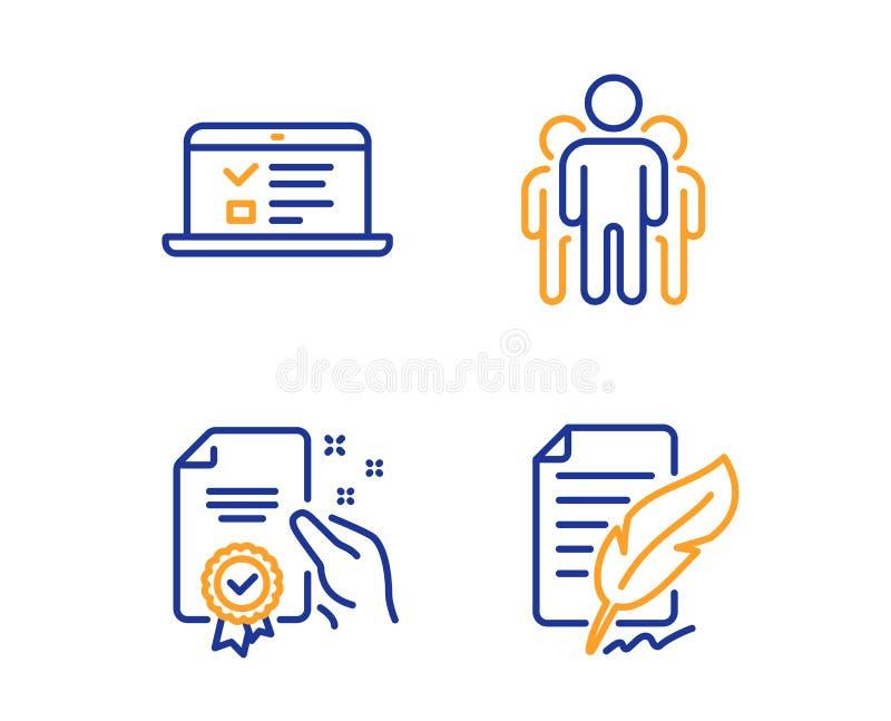 Conferencias del certificado, de la web y sistema de los iconos de grupo Muestra de la firma de la pluma Vector ilustración del vector