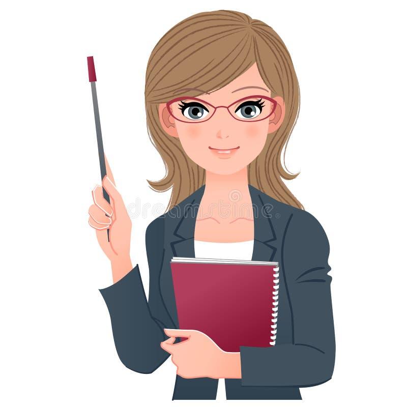 Conferente fêmea esperto que sorri com vara do ponteiro ilustração stock