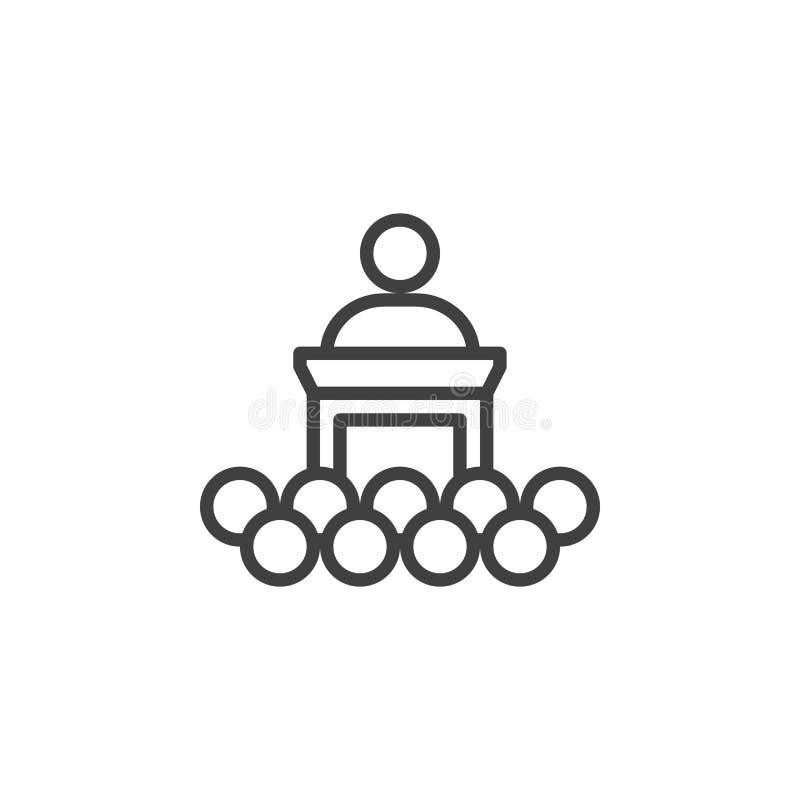 Conferentie, het pictogram van de opleidingslijn royalty-vrije illustratie