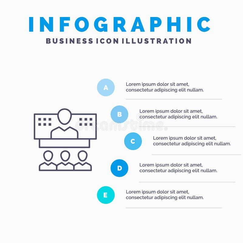 Conferentie, Zaken, Vraag, Verbinding, Internet, Online Lijnpictogram met infographicsachtergrond van de 5 stappenpresentatie stock illustratie
