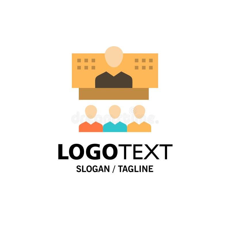 Conferentie, Zaken, Vraag, Verbinding, Internet, Online Zaken Logo Template vlakke kleur vector illustratie