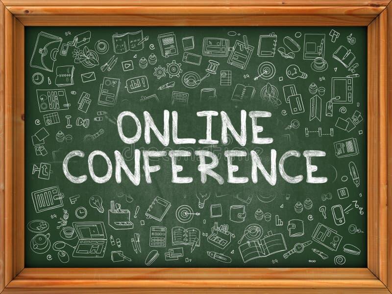 Conferenza online disegnata a mano sulla lavagna verde royalty illustrazione gratis