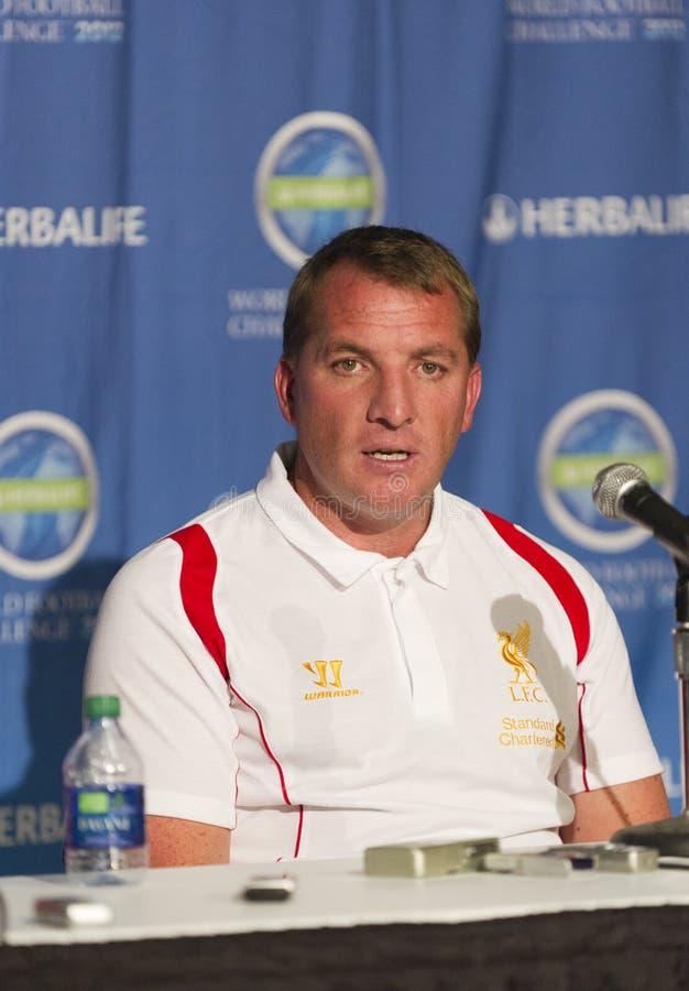 Conferenza stampa di Liverpool FC fotografie stock libere da diritti