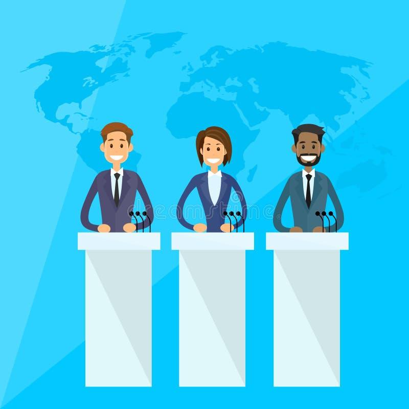 Conferenza stampa internazionale di presidente dei capi royalty illustrazione gratis