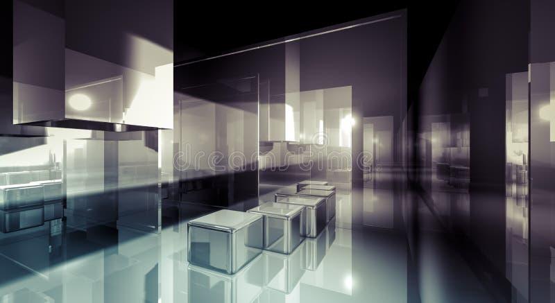 Conferenza, stanza di affari 3d, edificio di Corridoio con la luce e refl illustrazione vettoriale