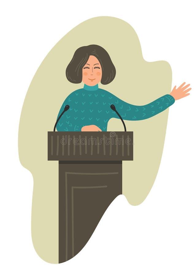 Conferenziere della donna Altoparlante della donna illustrazione vettoriale