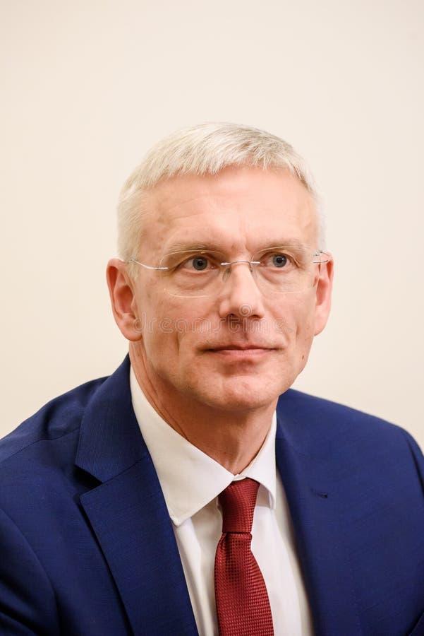 Conferfence da imprensa do primeiro ministro novo de Letónia, Arturs Krisjanis Karins fotos de stock royalty free