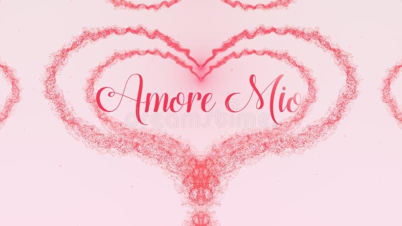 Confesi?n de Amore Mio Love El coraz?n del d?a de tarjeta del d?a de San Valent?n hizo del chapoteo rosado aislado en fondo rosa  foto de archivo libre de regalías